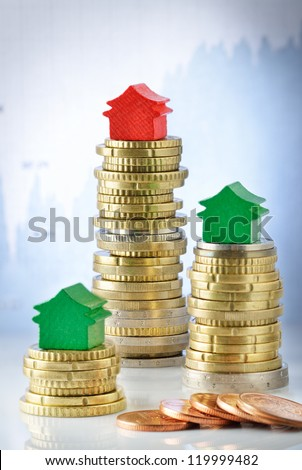Price variation on real estate market - stock photo