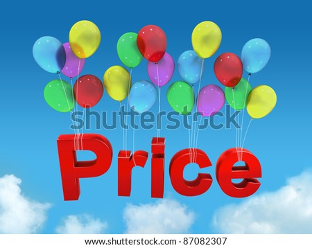 Price with balloon in the sky and clouds - stock photo