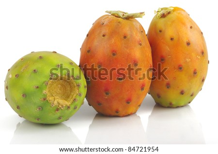Prickly Pear isolated on white background - stock photo