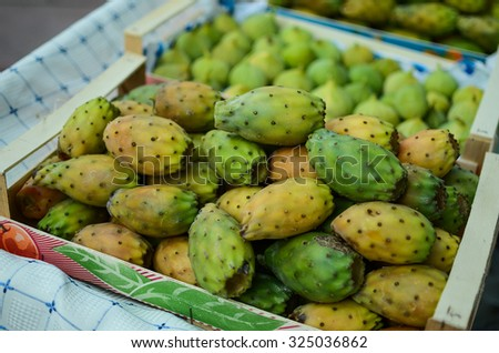 Prickly pears in the skep - stock photo