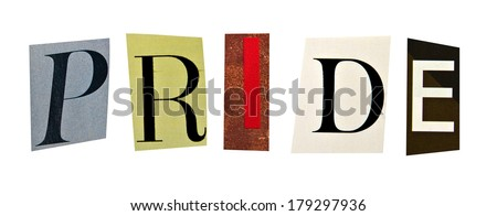 Pride formed with magazine letters on a white background - stock photo
