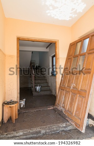 Pridjel Bosnia And Herzegovina - May 19 - Door Destroyed From Natural Disaster, on May 19, 2014 in Pridjel, Bosnia - stock photo