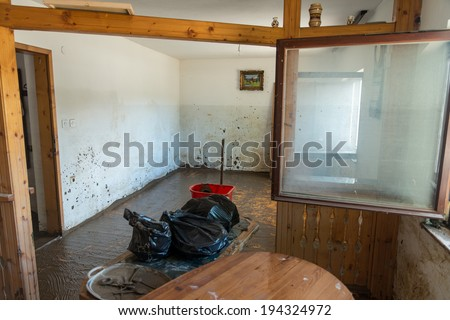 Pridjel Bosnia And Herzegovina - May 19 - Flood Natural Disaster - Old Living Room Destroyed From Flood, on May 19, 2014 in Pridijel, Bosnia - stock photo