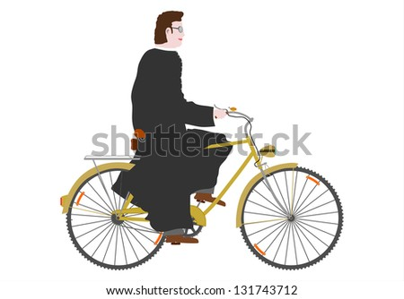 Priest on a bike in retro style. On a white background.