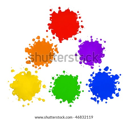 Primary and secondary colors in paint splatter isolated over white background - stock photo
