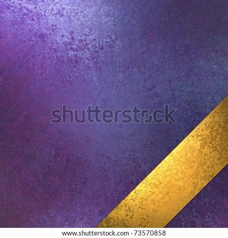 primary blue background or cover with purple and white highlights, faded grunge texture, and gold ribbon layout stripe at an angle in the bottom corner, with copy space to add text or title - stock photo