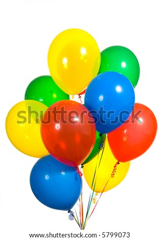 Primary color ballons arranged in a bouquet for a birthday party or other type celebration - stock photo