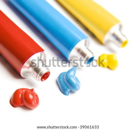 Primary Color Paints, Very Shallow DOF ,focus on red paint - stock photo