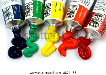 primary colors coming out of tubes - stock photo