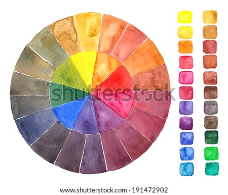 Primary colors watercolor design elements rectangular shape and a color circle - stock photo