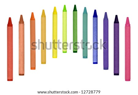 Primary secondary and tertiary crayons isolated on white