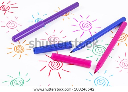Primitive childish felt-tip pen drawing , frowers - stock photo