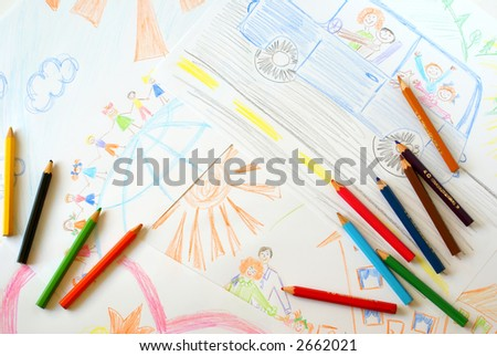 Primitive childish pencil drawing close-up isolated on white. - stock photo