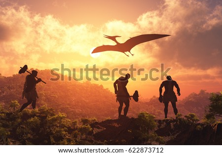 Primitive people and a dinosaur at sunset.,3d render