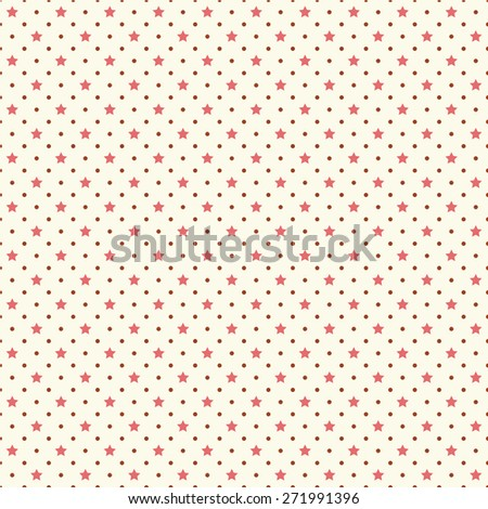 Primitive retro seamless background with stars and polka dots
