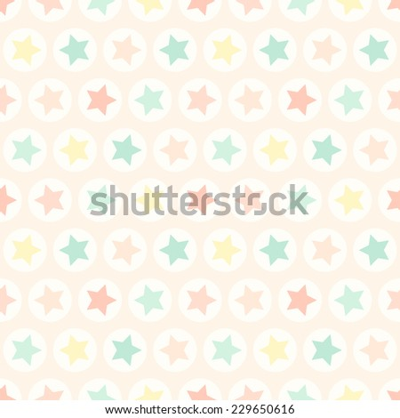 Primitive retro seamless pattern with stars and circles in pastel colors ideal for baby shower - stock photo