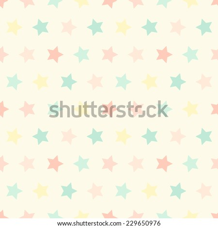 Primitive retro seamless pattern with stars in pastel colors ideal for baby shower - stock photo