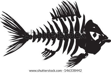 primitive, rough image of fish skeleton in black on a white background