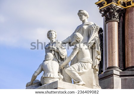 Prince Albert Memorial - Iconic, Gothic Memorial to Prince Albert from Queen Victoria. Memorial was designed by Sir George Gilbert Scott near Kensington Gardens in London, in 1876. Sculpture. - stock photo