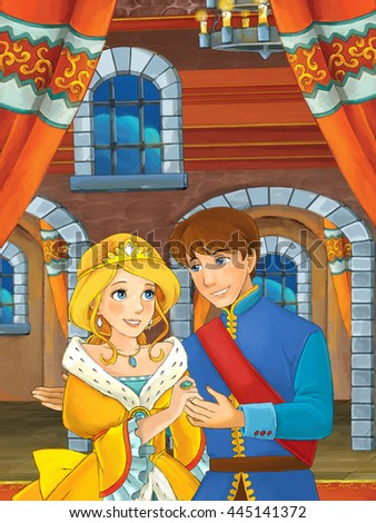 Prince and princess in the castle chamber - talking or dancing - prince is princess to dance - illustration for children