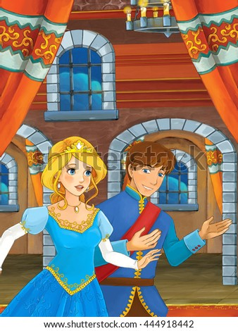 Prince and princess in the castle hall - talking - prince is princess to dance - illustration for children - stock photo