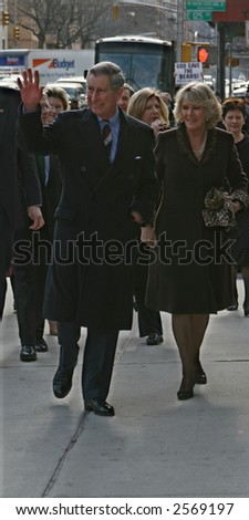 Prince Charles and his wife Camilla visit the Harlem Children's Zone in Manhattan on January 28, 2007 - stock photo