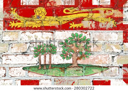Prince Edward Island flag painted on old brick wall texture background - stock photo