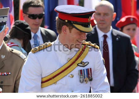 Prince Harry in the Polish War Cemetery in Cassino during his visit to Italy on 18/05/2014 - stock photo