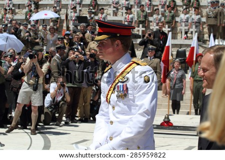 Prince Harry in the Polish War Cemetery in Cassino during his visit to Italy on 18/05/2014