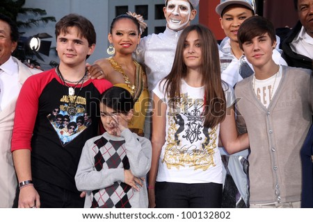Prince Jackson, Blanket Jackson, Paris Jackson, Justin Bieber at Michael Jackson Immortalized at Grauman's Chinese Theatre, Hollywood, CA 01-26-12 - stock photo