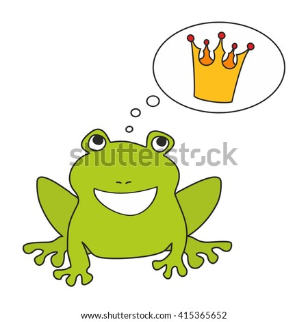 Prince or princess frog dreaming about crown. Illustration isolated on white background