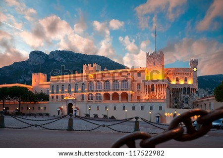 Prince's Palace of Monaco, the official residence of the King - stock photo