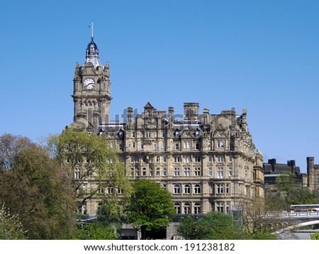 Princes Street, Edinburgh, Scotland. A view which includes the Balmoral Hotel - stock photo
