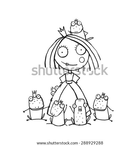 Princess And Many Prince Frogs Portrait Coloring PageFun Childish Hand Drawn Outline Illustration For