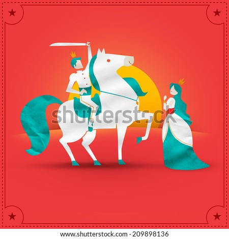 princess and prince with horse - stock photo