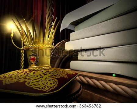 Princess and the Pea fairy tale in 3d illustration