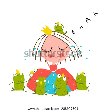 Princess Crying and Many Prince Frogs Colored Drawing. Colorful fun childish hand drawn outline illustration for kids fairy tale. Raster variant. - stock photo
