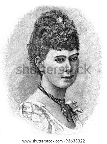 "Princess Victoria Mary Tan. Engraving by Shyubler. Published in magazine ""Niva"", publishing house A.F. Marx, St. Petersburg, Russia, 1893"