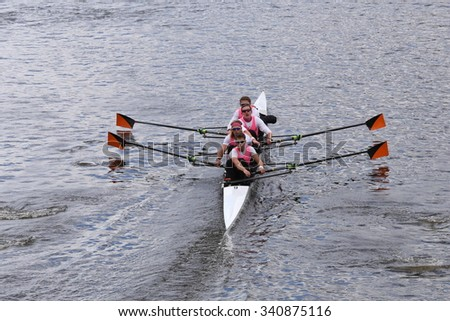 Princeton BOSTON - OCTOBER 18, 2015: races in the Head of Charles Regatta Mens's Championship Fours [PUBLIC RACE] - stock photo