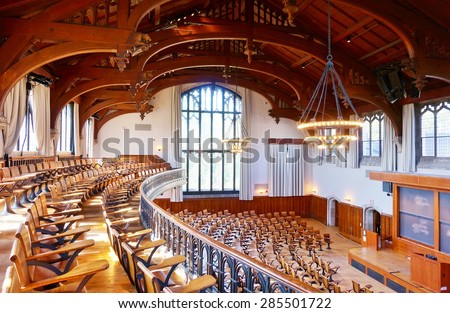 PRINCETON, NJ -7 JUNE 2015- McCosh 50, with its early 20th century original wooden seats, is the largest auditorium classroom on the Princeton University campus. - stock photo