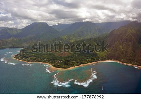 princeville, north kauai, hawaii, as seen from a helicopter - stock photo