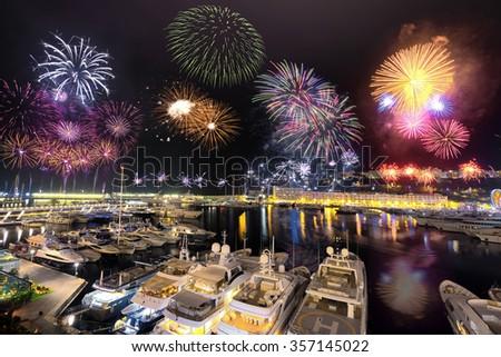 Principality of Monaco Fireworks - stock photo