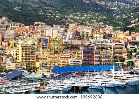 Principality of Monaco harbor - stock photo