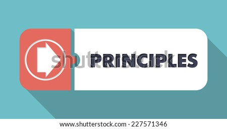 Principles in Flat Design with Long Shadows on Scarlet Background. - stock photo