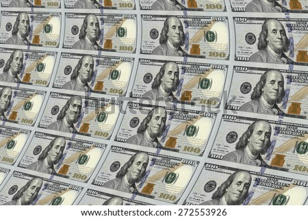 print a new one hundred dollars banknotes repetitive structures - stock photo