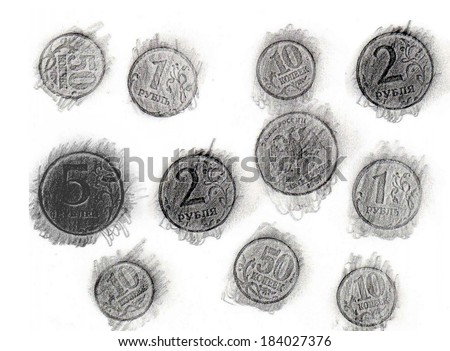 Print of coins a graphite pencil - stock photo