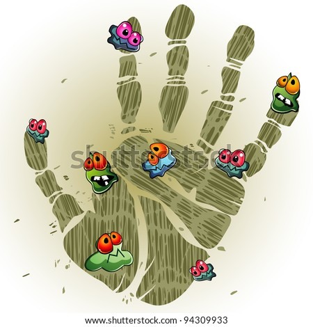 Print of dirty palm with cartoon germs - stock photo