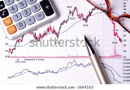 Print Out Of Financial Graphs With A Calculator, Pen And Glasses Reporting Stock Performance - stock photo