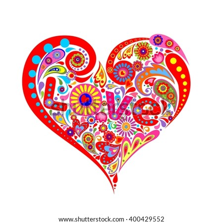 Print with abstract heart shape with colorful flowers - stock photo