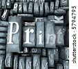 Print word written with print letter cases - stock photo